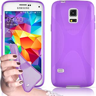 Cadorabo Case Works with Samsung Galaxy S5 / S5 NEO Ultra Slim TPU Silicone Cover in Pastel Purple (Design X) – Shockproof Scratch Resistant Gel Case Protective Shell Bumper Skin Back Cover
