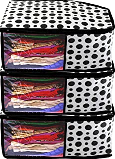 Kuber Industries Polka Dots 3 Pieces Non Woven Blouse Cover Set (Black & White) -CTKTC039389
