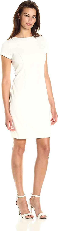 Ellen Tracy Womens Ponte Dress with Shoulder Hardware Detail Dress