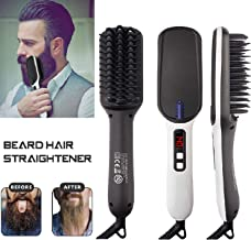 Geecol Men's Ionic Beard Straightener Comb, 2019 New Design Dual Voltage (100V-240V) Quick Hair Styler Ionic Beard Straightening Heat Brush PTC Ceramic Technology, Curling Hair Comb Electric Hair Comb Men Women