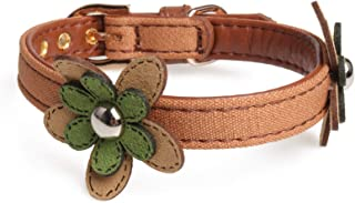 Axgo Adjustable Cute PU Leather Cat Collar with Adorable Flowers, 1.3 x 32cm, Brown