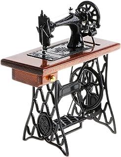 Homyl Juguete Infantil Figura de Máquina de Coser Marrón en Miniatura Vintaje Juego Creativo Adorno de Casa de Muñecas a Escala 1/10