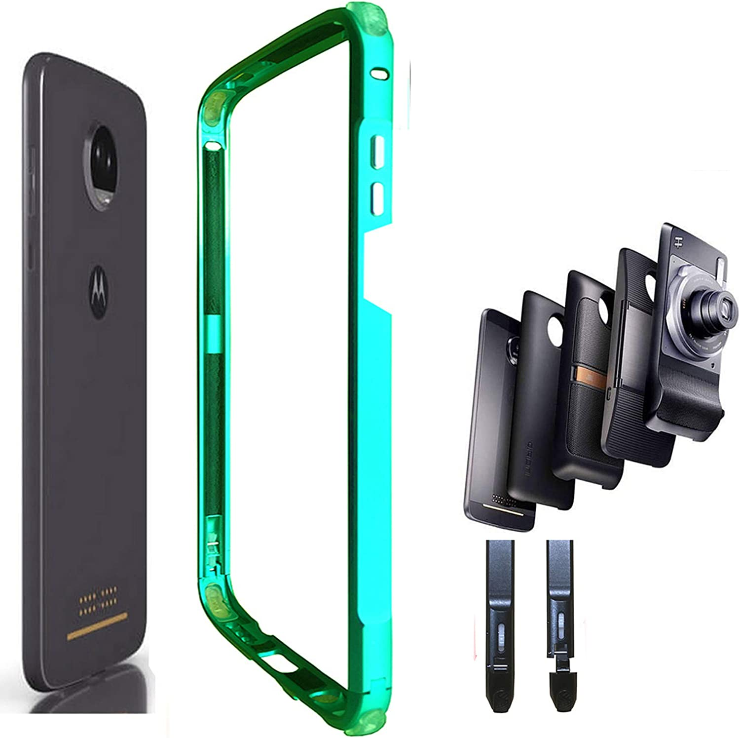 Moto Z3/Z3 Play Case,Aluminum Alloy Bumper Frame Compatible with Moto Mods Moto Hasselblad True Zoom Mod Power Pack Mod Moto Style Shell Moto Wireless Charger Mod(Emerald-Green)