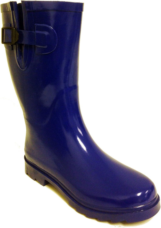 G4U Women's Rain Boots Multiple Styles Color Rubber Mid Calf Buckle Waterproof Wellies Short Snow Shoes
