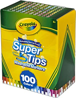 Crayola Super Tips Lot de 100 marqueurs lavables Multicolore