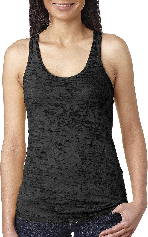 Next Level Apparel Ladies Junior Fit Burnout Racerback Tank. N6533 X-Small Black