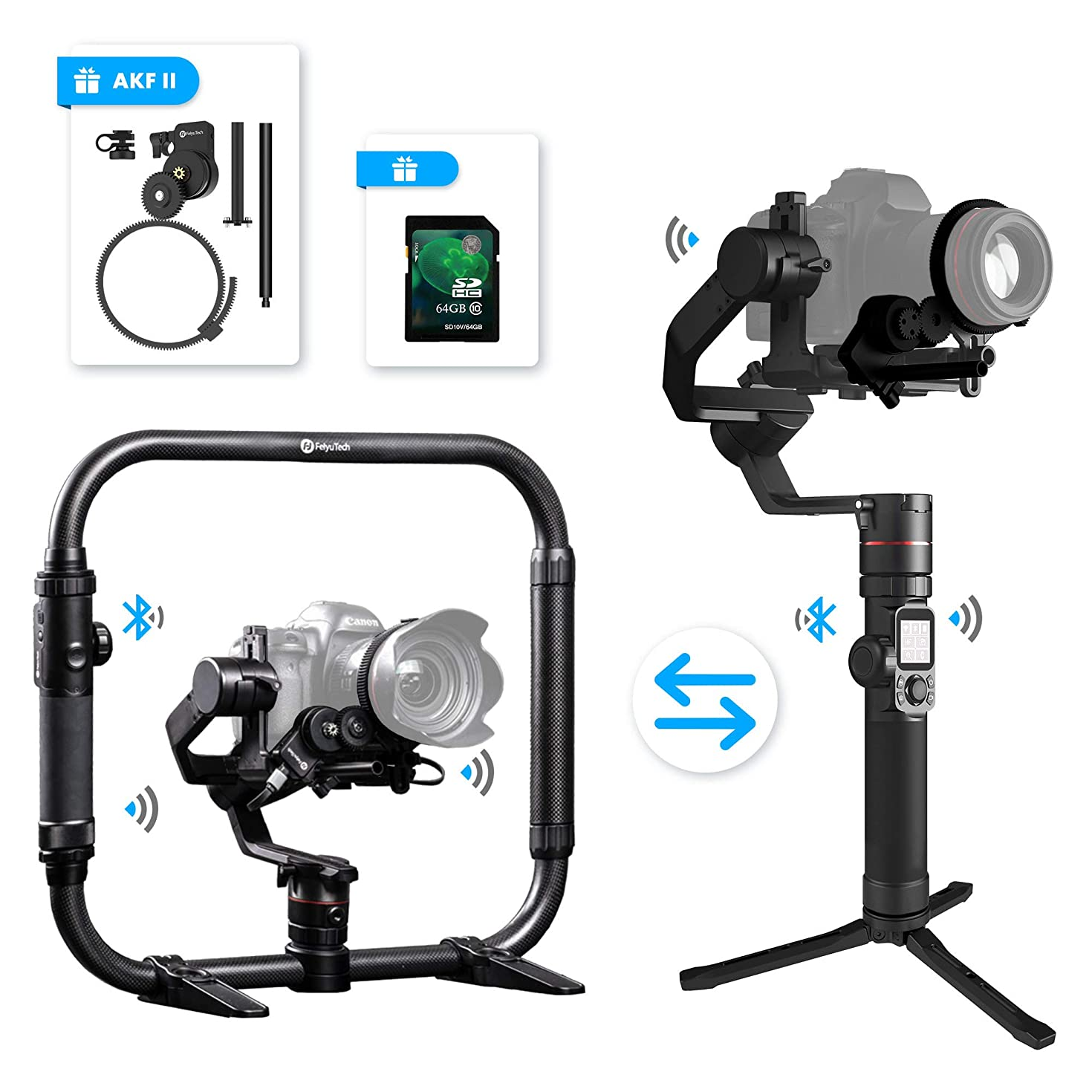 FeiyuTech Feiyu AK4000 3 Axis DSLR Gimbal Stabilizer, Dual Handheld KIT, w/Ring-Style Grip Handle and Follow Focus II, 8.8 lbs Max Load, Compatible with Canon EOS Series, Nikon & Sony Series DSLR Came