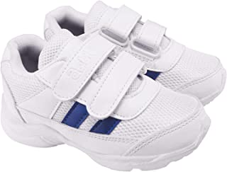 Action Synergy Boys & Girls Velcro School Shoes 7146 White Blue