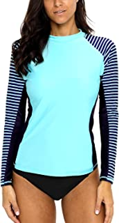 Women's Long Sleeve Rashguard UPF 50 Sun Protection Swimsuit Top Striped Swim Shirts