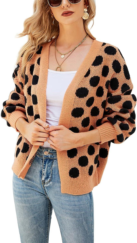 Women Knitwear Dots Cardigan - V Neck Long Sleeve Loose Fit Soft Basic Y2K Sweaters Coat