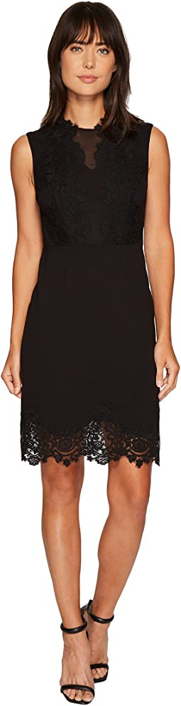 Vince Camuto - Sleeveless Ponte Dress w/ Lace Trim