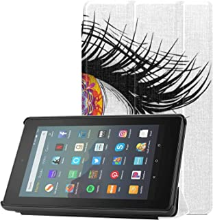 Etui ochronne do tabletu Fire 7 2019 różowy tatuaż róża z oczami Fire 7 HD etui na tablet Fire 7 (9. generacji, modele z 2...