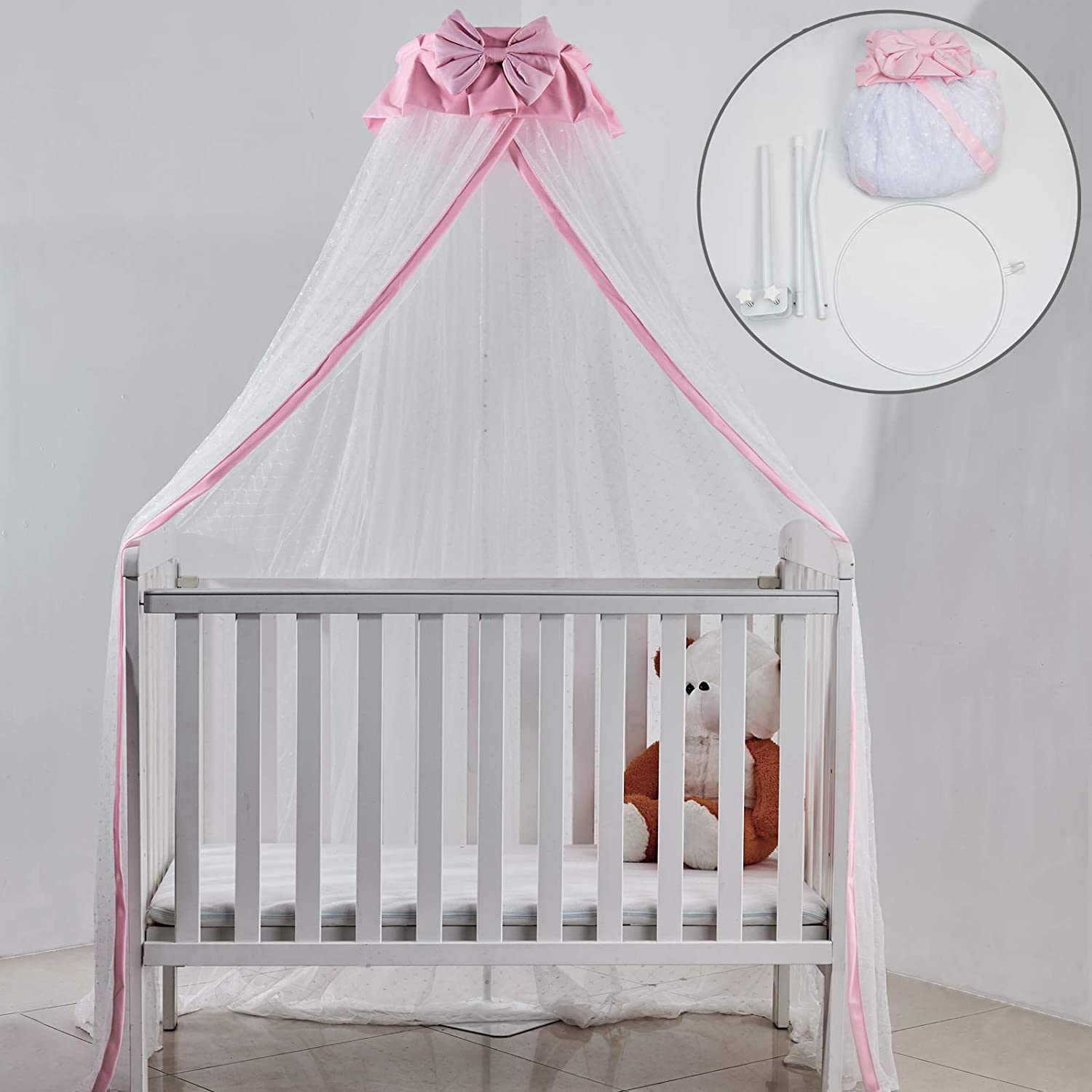 Crib Net Set- Baby Bed Dome Canopy Netting Cover with Metal Adjustable Floor Stand Holder Infant Toddler Cots Tent Net-Protect Your Baby from Bites (Pink/Clip-on Bracket Holder)
