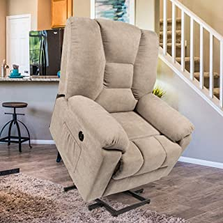 Esright Microfiber Power Lift Electric Recliner Chair with Heated Vibration Massage Sofa Fabric Living Room Chair with 2 Side Pockets, USB Charge Port & Remote Control, Beige