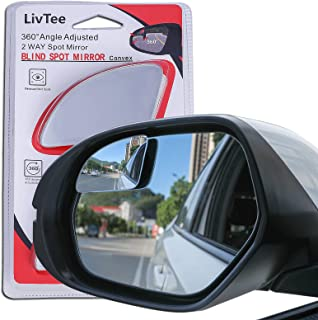 LivTee Blind Spot Mirror,Rhombus Shaped HD Glass Frameless Convex Rear View Mirror with wide angle Adjustable Stick for Ca...