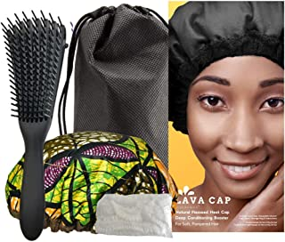 Lava Cap Heat Cap for Deep Conditioning Treatment - Microwavable Flaxseed Cordless Hair Steamer Cap Curly Detangle Kit with Flexi Hairbrush, Disposable Shower Caps & Cotton Storage Bag (Tropikara)