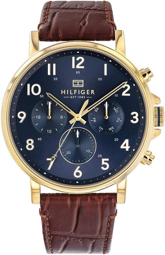 Tommy hilfiger orologio,cronografo da uomo,cassa in acciaio e cinturino in vera pelle 1710380