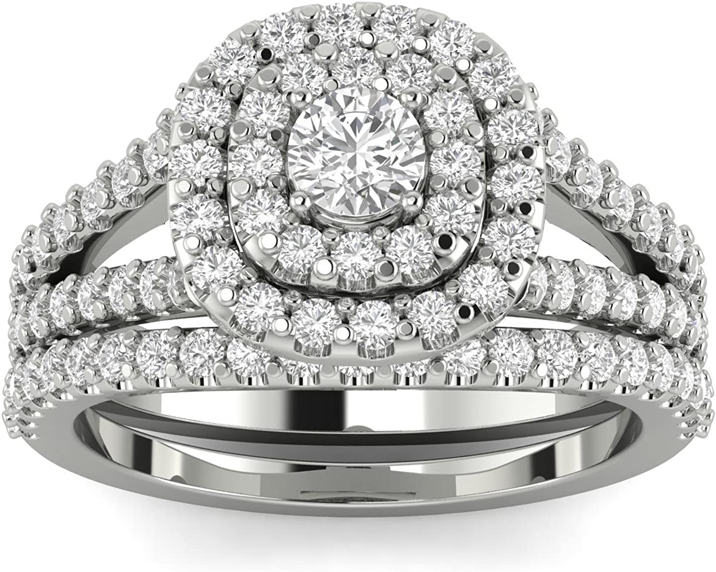 1 10ct Cushion Halo Diamond All items in the store Engagement 10K Wedding Wh Set Ring Overseas parallel import regular item
