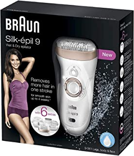 Braun Silk-épil 9 9-561 Depiladora eléctrica inalámbrica con tecnología Wet & Dry, con 6 accesorios incluyendo un cabezal con recortadora y afeitadora, para mujer, Blanco/bronce