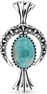 American West Sterling Silver & Turquoise Naja Crescent Moon & Squash Blossom Necklace Enhancer Pendant, 2