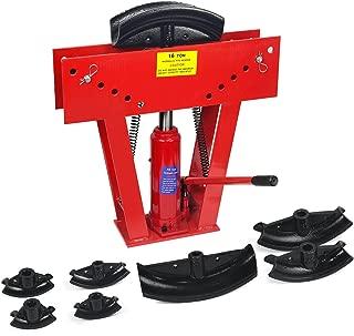 XtremepowerUS Industry 16-Ton Exhaust Tubing Bender 1/2-Inch Square Hydraulic Pump Tubing Bender Stroke Pipe Bending Steel Pipe w/Dies Set