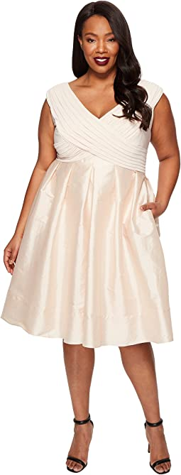 Plus Size Fit and Flare Taffeta Skirt and Draped Matte Jersey Bodice