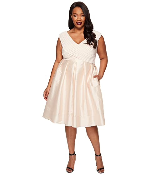 Adrianna Papell Plus Size Fit And Flare Taffeta Skirt And Draped