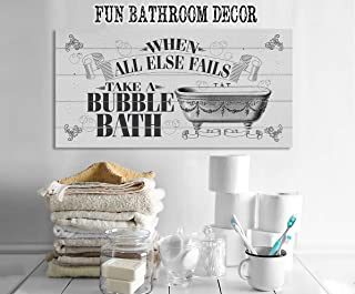 When All Else Fails Take A Bath - Large Canvas (Not Printed on Wood)-Stretched on a Heavy Wood Frame - Ready to Hang - Perfect Bathroom Decor - Great Housewarming Gift Under $50