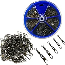 JSHANMEI Fishing Swivel Snap Kit Rolling Barrel Swivel with Safety Snap Connector Fishing Tackle Accessories