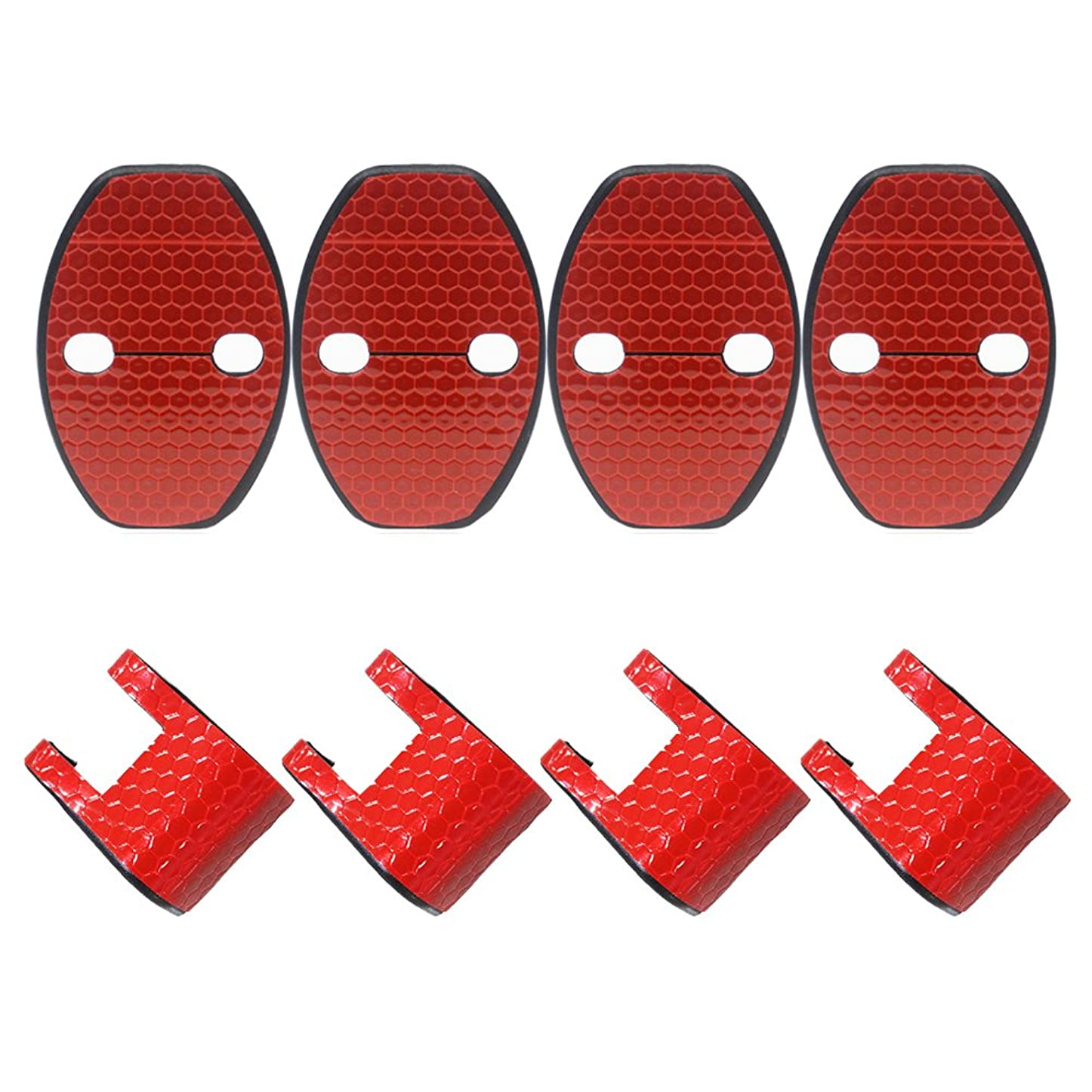 電化するインレイベスビオ山適合多数 VW Audi アウディ Porsche ポルシェ 汎用 赤 高輝度 反射テープ ドア ロック ストライカー カバー/ストッパーカバー 4枚 アウディA4 A5 A7 A8 Q3 Q5/フォルクスワーゲン パサー トポロ シロッコ テ...