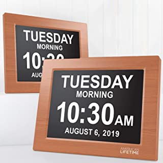 American Lifetime Newest Version, Day Clock Extra Large Impaired Vision Digital Clock with Battery Backup and 5 Alarm Options, Brown Wood Color 2 Pack