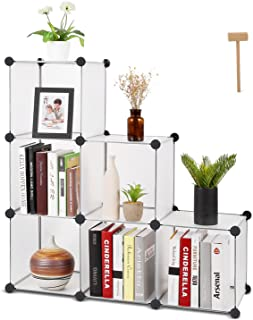 Homfa 6 Cube Storage Organizer, DIY Modular Closet Cabinet Chests, Living Room Office Shelves for Books, Cloths, Toys, Shoes, Arts, Matte White