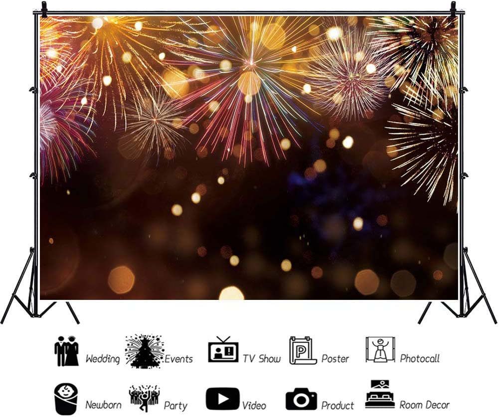 OFILA New Year Fireworks Show Backdrop 12x10ft New Year Fireworks Party Photography Background Happy New Year Photos 2021 New Year Festival Celebration New Year Video Background Props