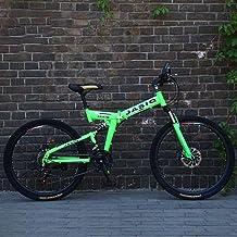 ANXIANG Mountain Bicycle Folding Bike, 24/26 inch 21 Speed Double disc Brake Full Suspension Anti-Slip, Off-Road Speed Rac...