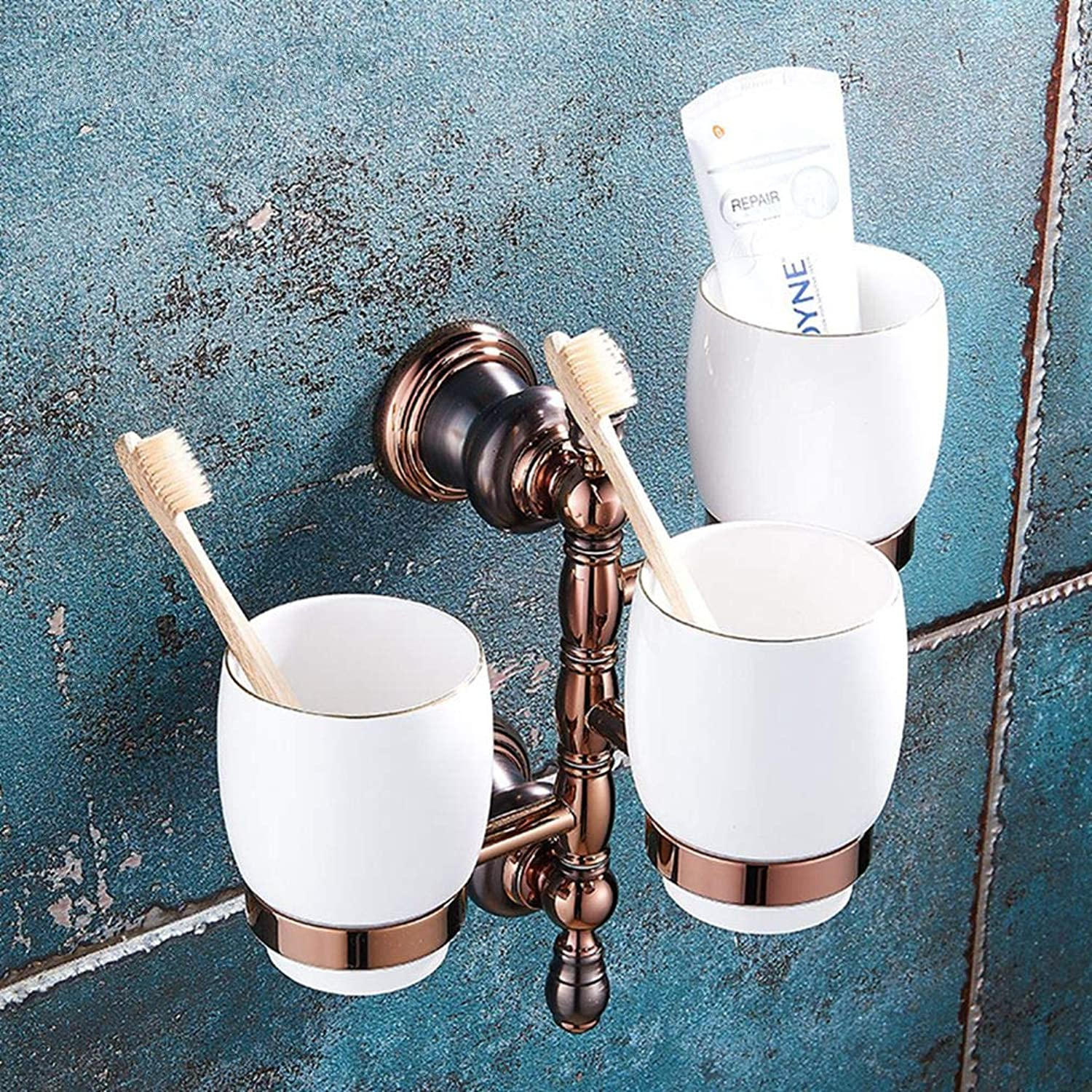 LUDSUY Bathroom accessoriespink gold Cups Metal Pendant Bathroom Toilet Brush Cup Suit All Copper Brown Ancient Dual Cup Holders, C