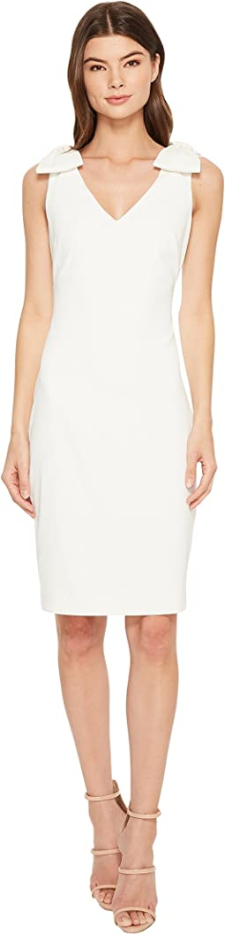 Badgley Mischka V-Neck Butter Crepe Bow Shoulder Dress