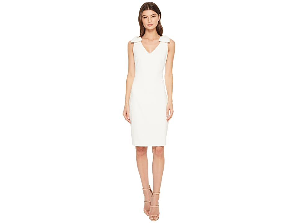 Badgley Mischka V-Neck Butter Crepe Bow Shoulder Dress (Ivory) Women
