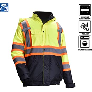 Medium BBH Black Terra 116505BKM High-Visibility Quilted And Lined Reflective Safety Freezer Jacket