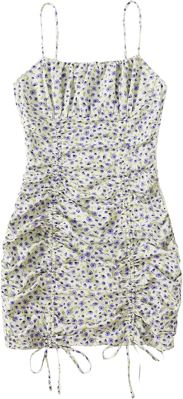 Romwe Women's Plus Size Boho Floral Spaghetti Strap Ruched Cami Bodycon Dress