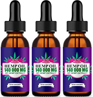 3 Pack ,Hemp Oil Drops 140 000 mg, Co2 Extracted, Made in USA, Help Reduce Stress, Anxiety and Pain, 100% Natural Ingredie...