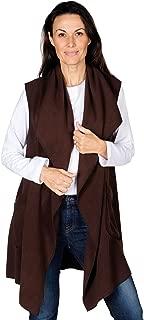 Le Moda Women's Pocketed Open Front Fleece Vest Cardigan