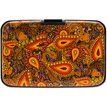 Women Credit Card Holders Paisley Designs Card & ID Cases RFID Theft Protectors Anti Scan Aluminium for Credit Card Debit Card Driving Licence Business Cards Strong Wallet (Orange)