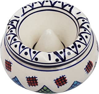 CraftnGifts Sale-Ceramic Lid-Moroccan Handmade Ash Tray Outdoors & Indoors Hand Painted Ashtray with 3 Cigarette Holder Slots Office Bar Decor, White Blue