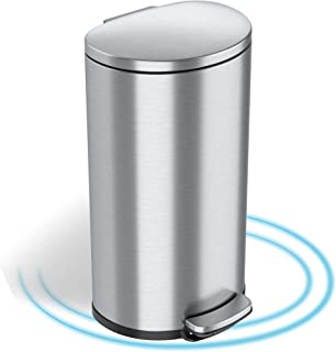 iTouchless SoftStep 8 Gallon Trash Can with Removable Inner Bucket and AbsorbX Odor Filter, Stainless Steel, 30 Liter Sem...