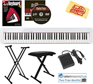 $654 » Casio Privia PX-S1000 88-Key Digital Piano - White Bundle with Adjustable Stand, Bench, Sustain Pedal, Instructional Book, Online Lessons, Austin Bazaar Instructional DVD, and Polishing Cloth