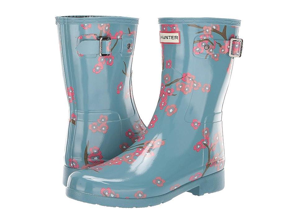 Hunter Refined Blossom Print Short Boot (Soft Pine Floral) Women