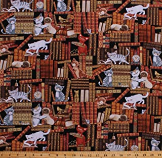 Cotton Cats Kittens Kitties Reading Library Books Stacks Bookshelves Bookcase Librarians Reader Scholarly Mice Glasses Clocks Feline Figurines Cotton Fabric Print by The Yard (CAT-C5342-multi)
