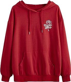 SweatyRocks Women's Causal Cut Out Front Crop Top Long Sleeve Drawstring Sweatshirt Hoodie
