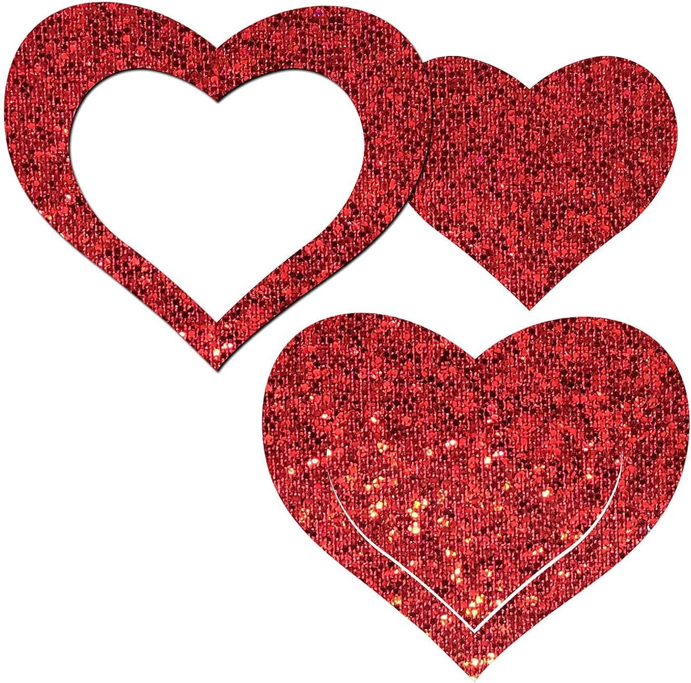 Pastease Nipple Pasties - Peek-a-Boob: Red Glitter Heart Frame