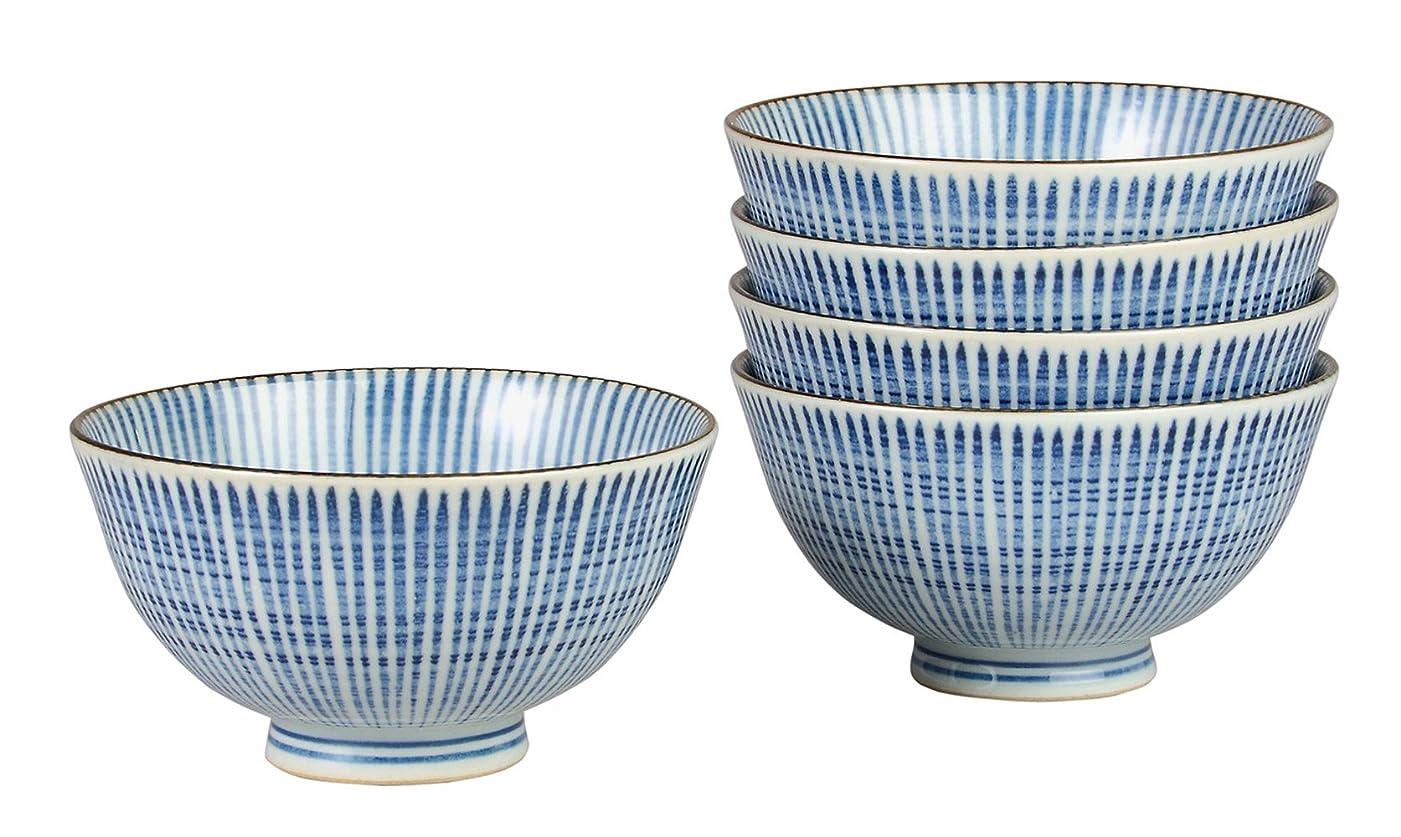 ポーズ松の木からかうみのる陶器 千段十草 茶碗 5個セット